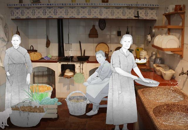 Cocina, criadas, servicio, burguesia, huerta, museo, Torrente, dibujo