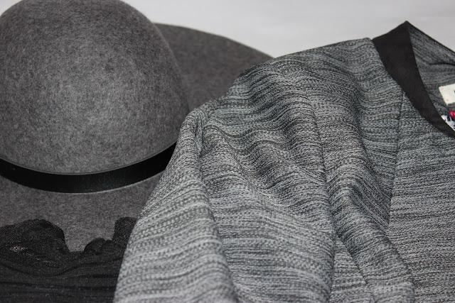 veste grise Naf Naf, chapeau h et m, robe bijou maje
