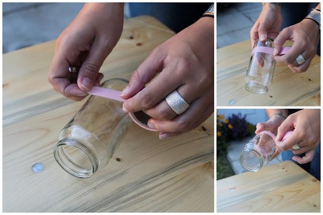 DIY Upcycling Vasen Anleitung Masking-Tape 1000 gute Gruende