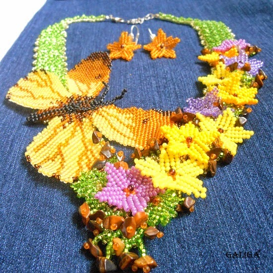 jewelry set necklace earrings beaded butterfly