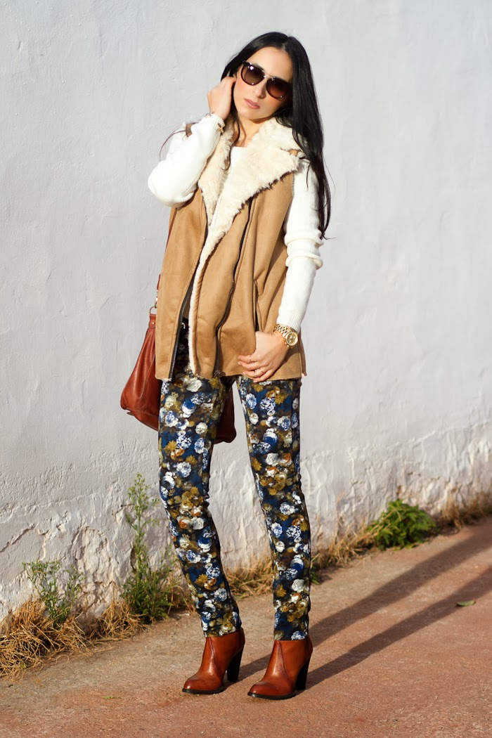 Camel Faux Fur Vest with neoprene floral printed pants