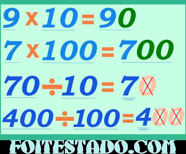 como fazer divisão e multiplicação simples por 10 ou 100