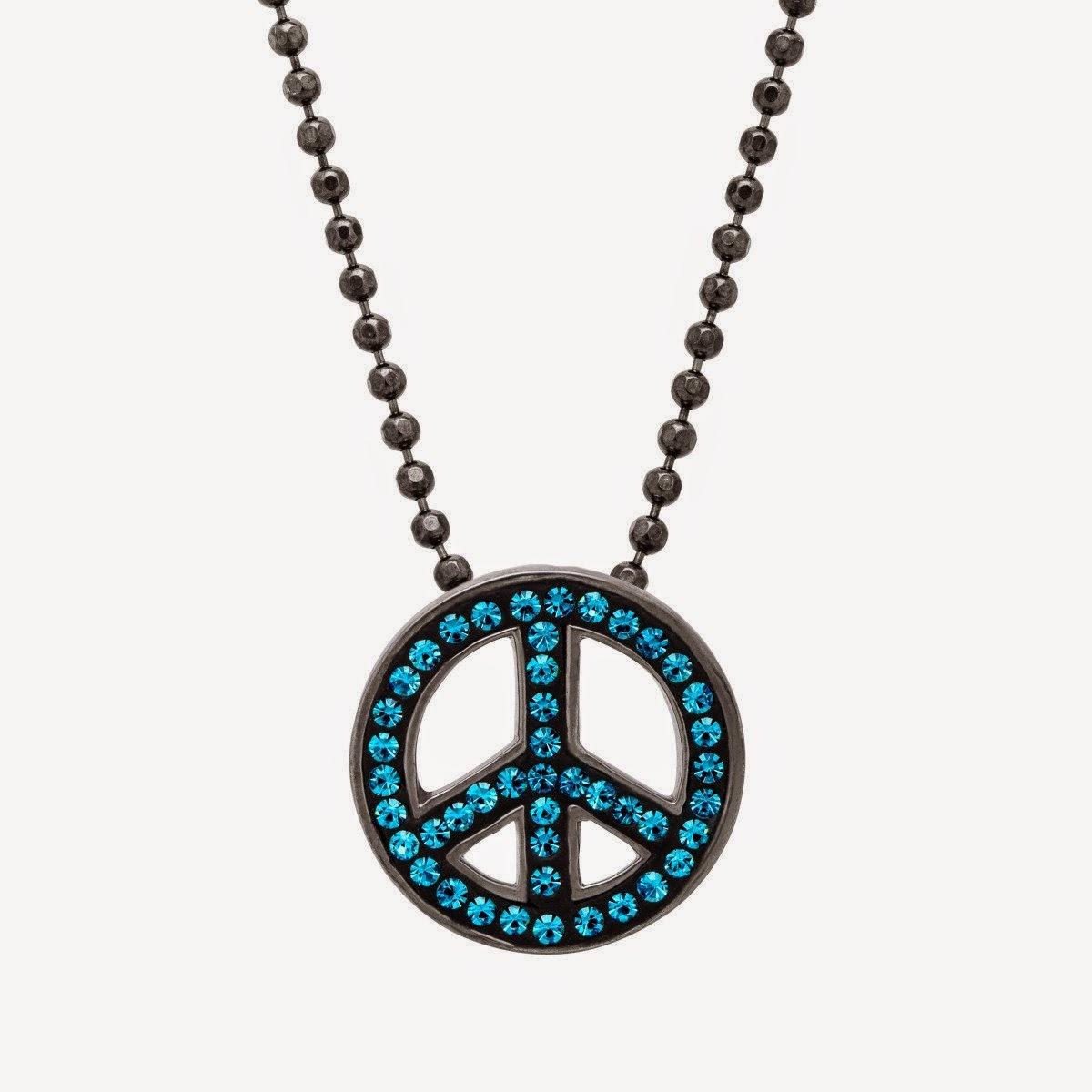Peace Pendant with Swarovski Crystal