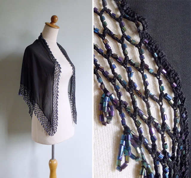 vintage sheer black beaded shawl scarf