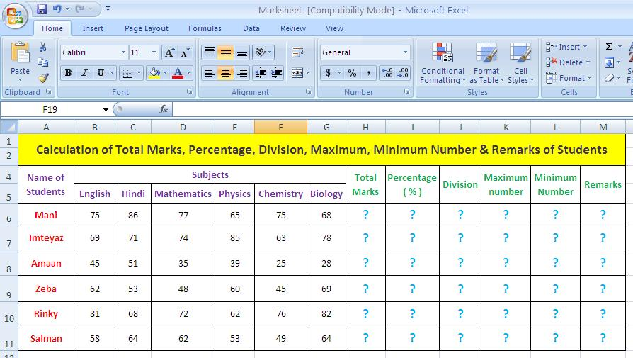 Calculation Of Total Marks Percentage Division Remarks