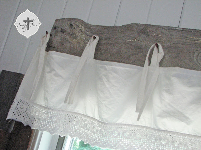 Make a barnwood bedskirt window treatment! By Prodigal Pieces featured on I Love That Junk