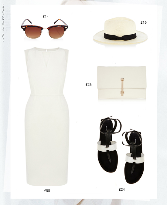 Riviera inspired all white outfit idea for the summer in the city | white dress, panama hat, leather ankle strap sandals, tortoise sunglasses & simple white clutch bag