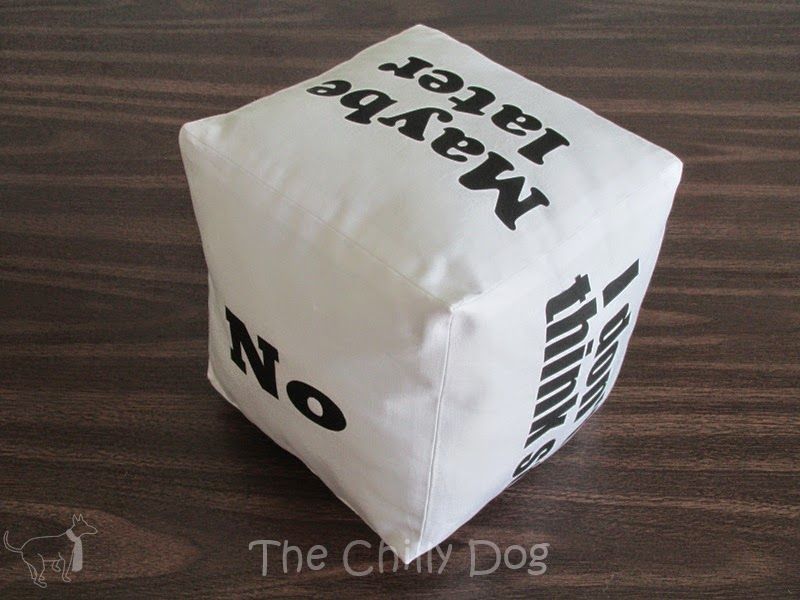 Sewing Tutorial: Use your Silhouette Cameo to create a funny cube shaped pillow reminiscent of the magic 8 ball