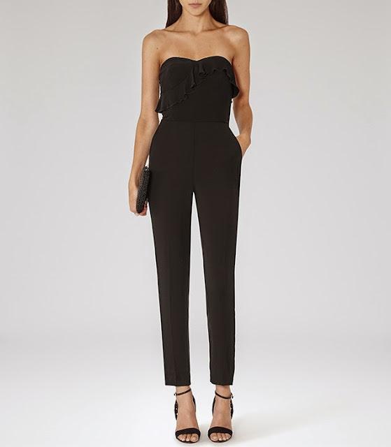 reiss black jumpsuit, black strapless ruffle jumpsuit,