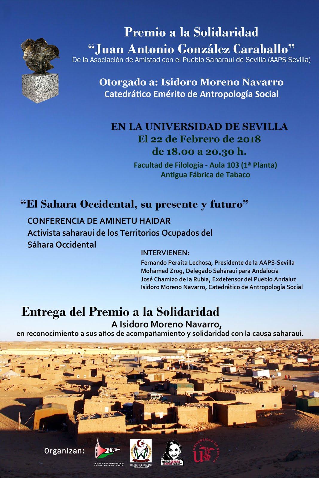 Premio a la Solidaridad a Isidoro Moreno y Conferencia de Aminetu Haidar.