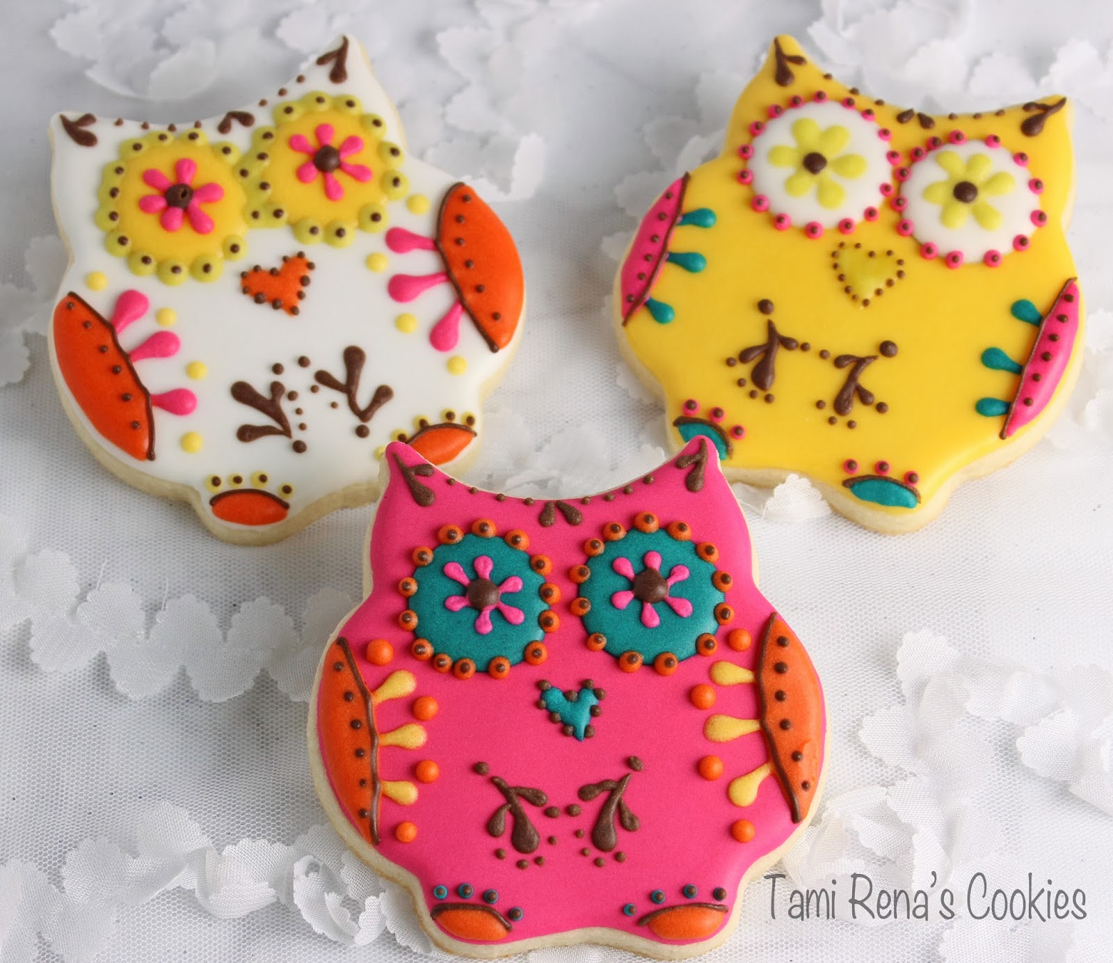 Owl Decorated Cookies Tami Rens Cookies Day Of The Dead Owl Cookie Tutorial
