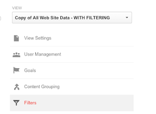 Selecting the correct filter view Google Analytics
