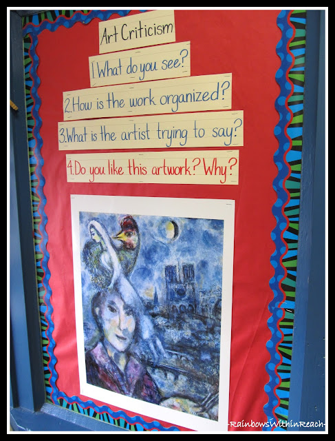 photo of: Art Criticism Bulletin Board in the Art Room via RainbowsWithinReach