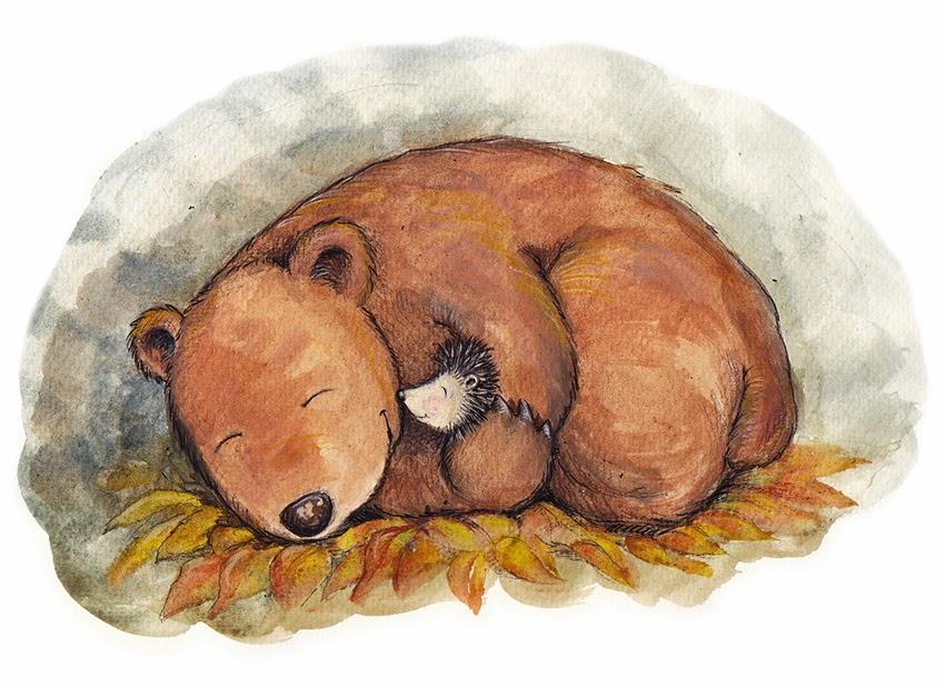 Kinderbuchillustration, children's book illustration, bear, hedgehog,winter sleep,  Bär, Igel, Winterschlaf