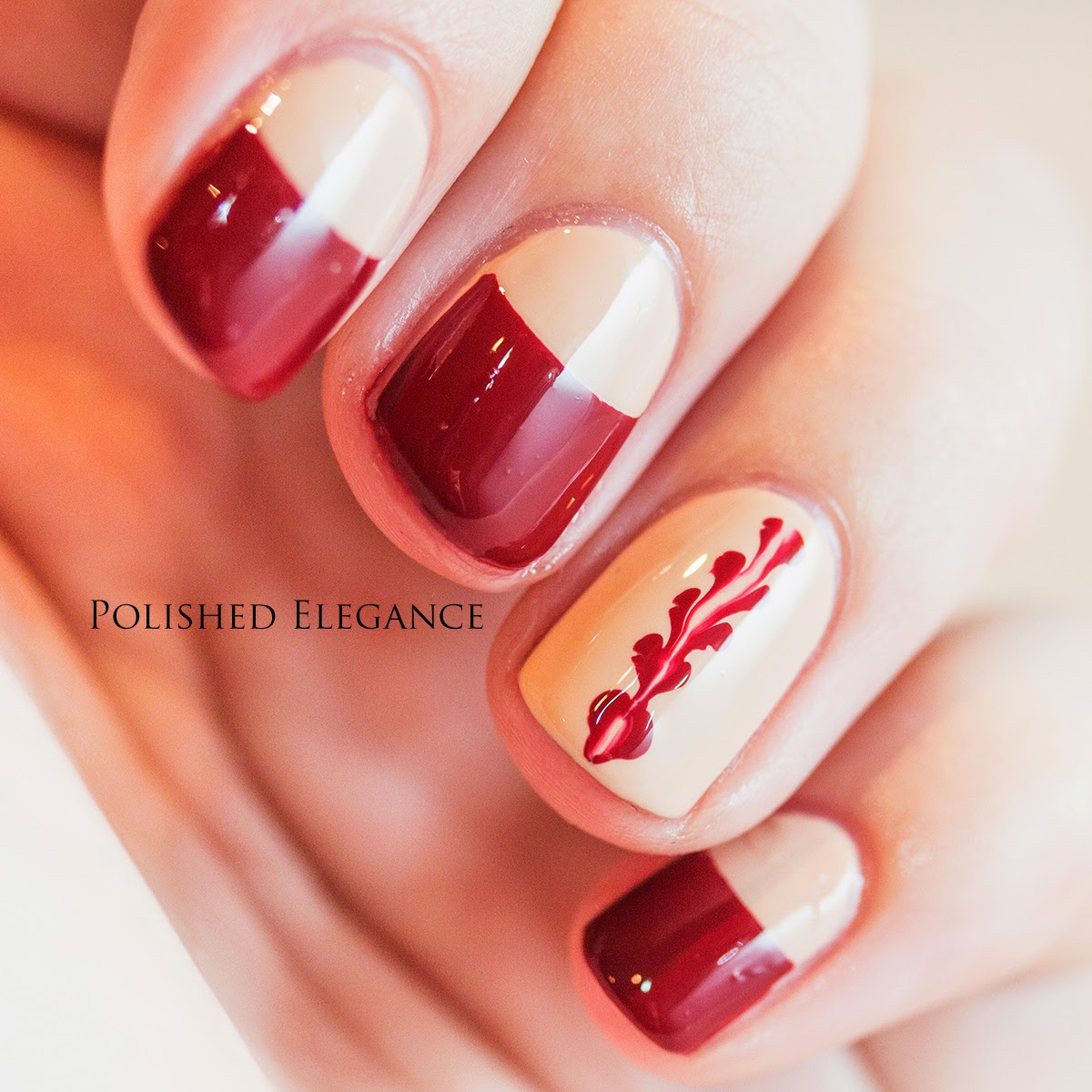 red and nude half moon nail art video tutorial