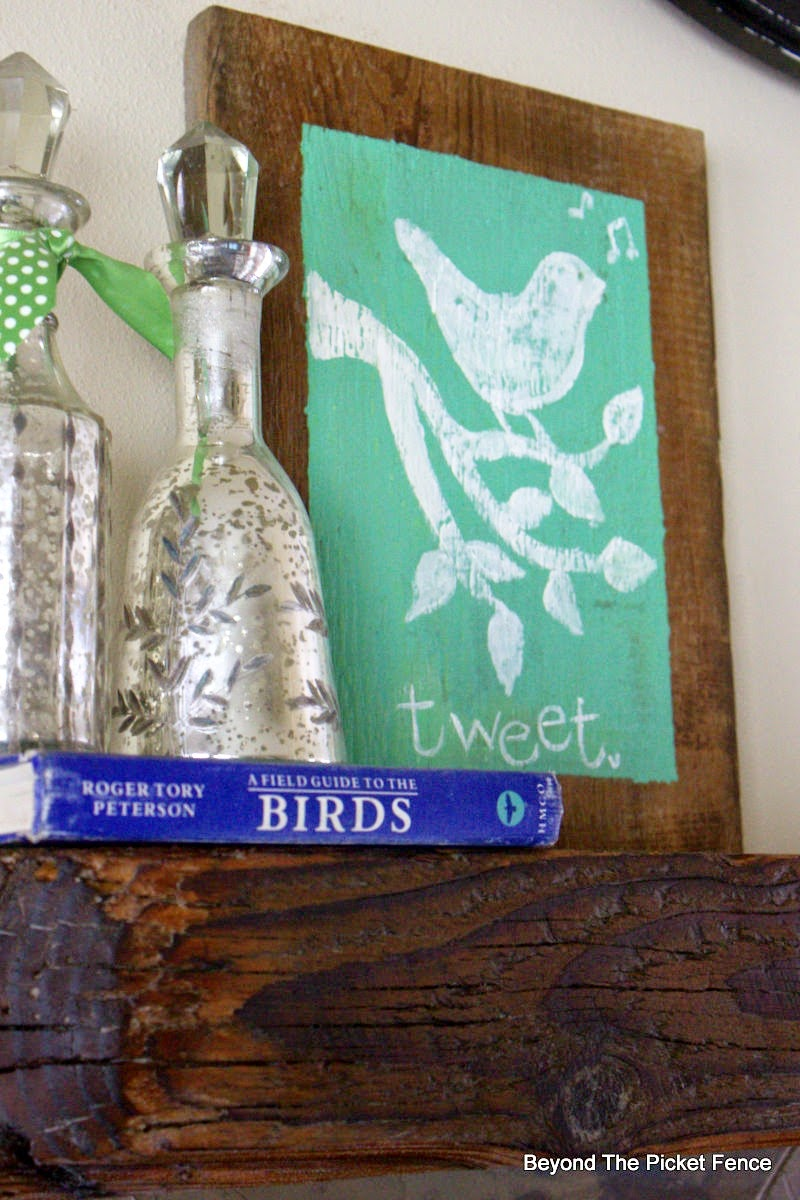 easy art, reclaimed wood, spring, bird, mantel, beyond the picket fence