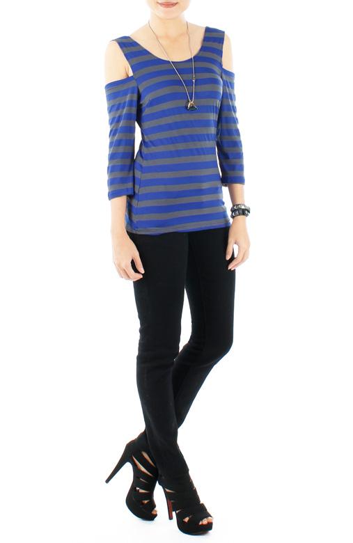 Ultramarine Cold Shoulder Stripe Top