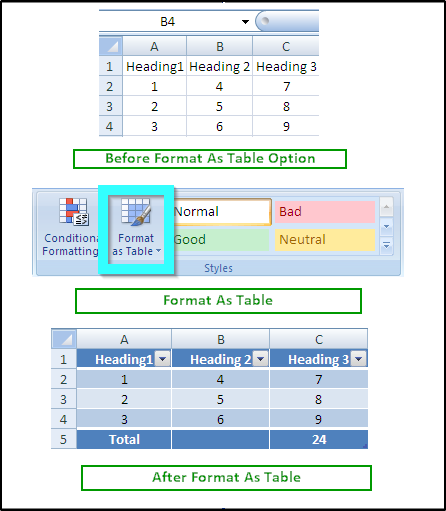 Excel Format As Table - Apache POI Example