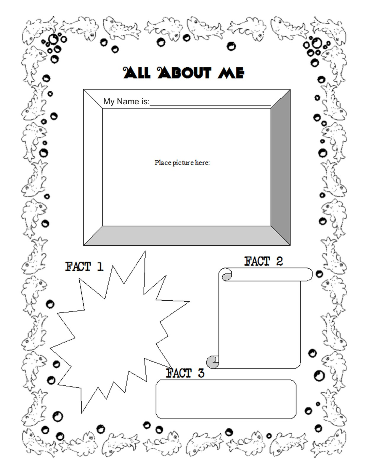 It's just a graphic of Accomplished All About Me Page Printable