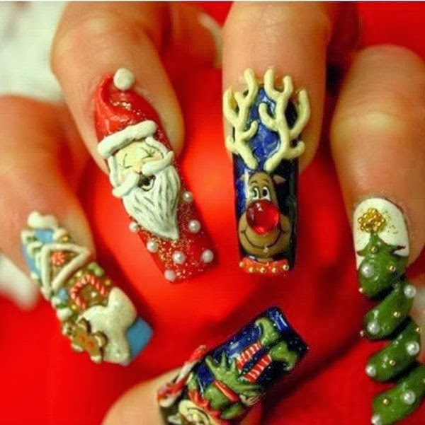 Amazing, Beaded, Christmas Patterned Nails