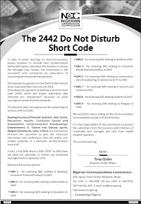DO NOT DISTURB CODE 2442