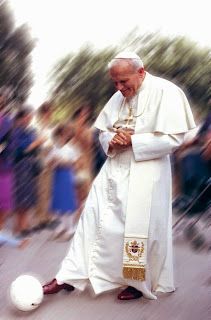 Pope John-Paul II with football