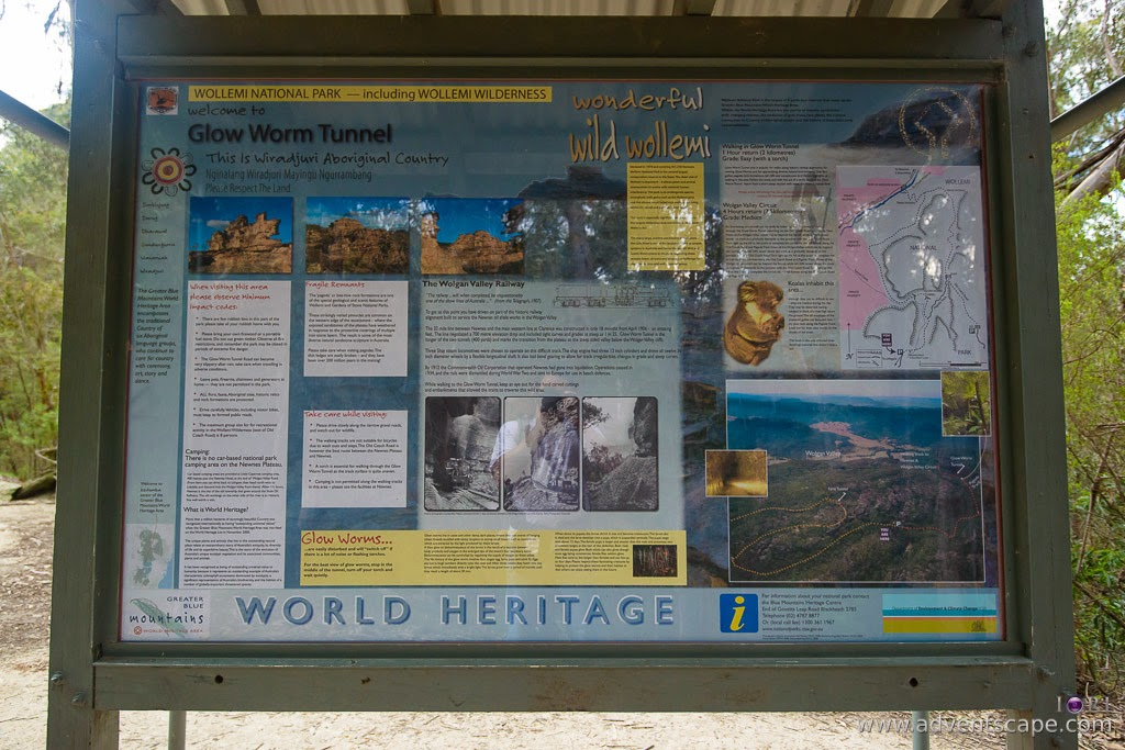 Philip Avellana, Australian Landscape Photographer, glow worm tunnel, Lithgow, Wollemi National Park, NSW, New South Wales, Australia, information board, maps, tips, World Heritage