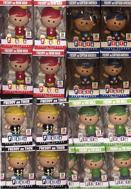 San Diego Comic-Con 2015 Fundays Exclusive Marvel's The Avengers Retro Freddy Funko Vinyl Figures by Funko - Iron Man, Captain America, Thor & The Incredible Hulk