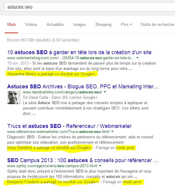 lien url partagee google plus - page 1 serp google - tendance webmarketing par Christophe Vieira