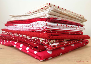 Red and Cream  White Fabric Stash Fabadashery