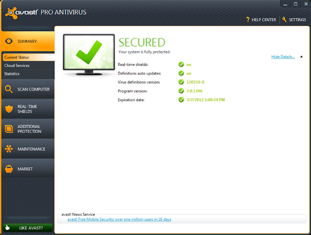 Avast Pro Antivirus 7 - Interface