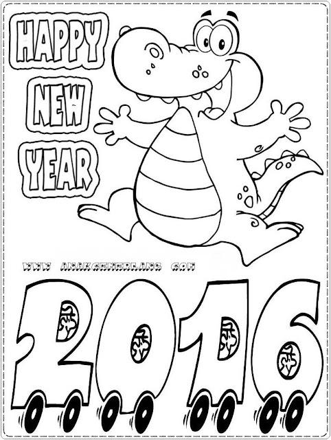 gambar sketsa tahun baru 2016