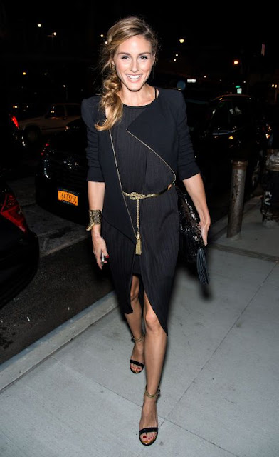 Olivia Palermo in a front-slit skirt