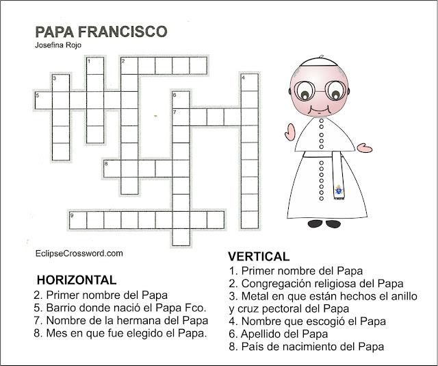 PASATIEMPOS Y CRUCIGRAMAS: Crucigramas Papa Francisco