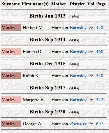 A snip from the FreeBMD website showing five births, surname Morley, mmn Harrison, between 1913 and 1920.