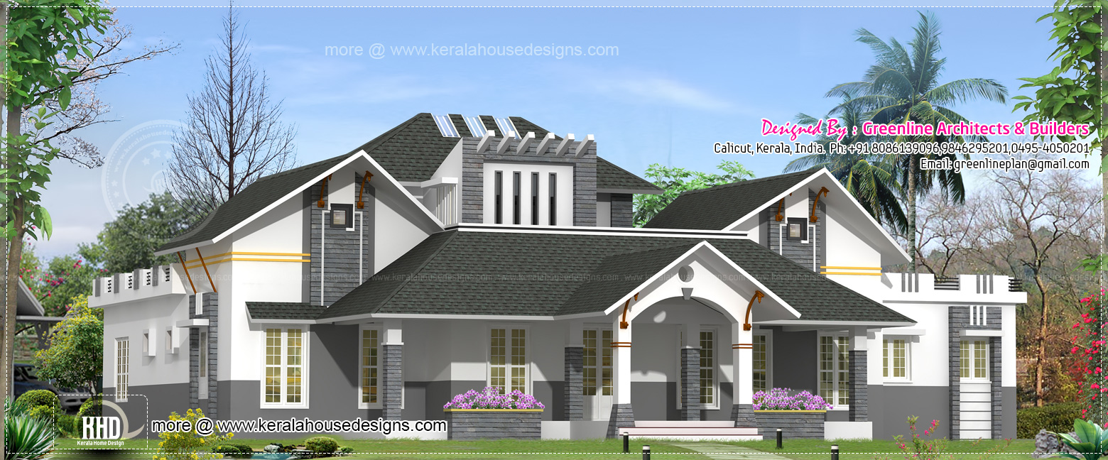 Modern single floor house design kerala home design and for Modern house design single floor