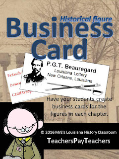 https://www.teacherspayteachers.com/Product/LOUISIANA-Historical-Figures-Business-Cards-2358080