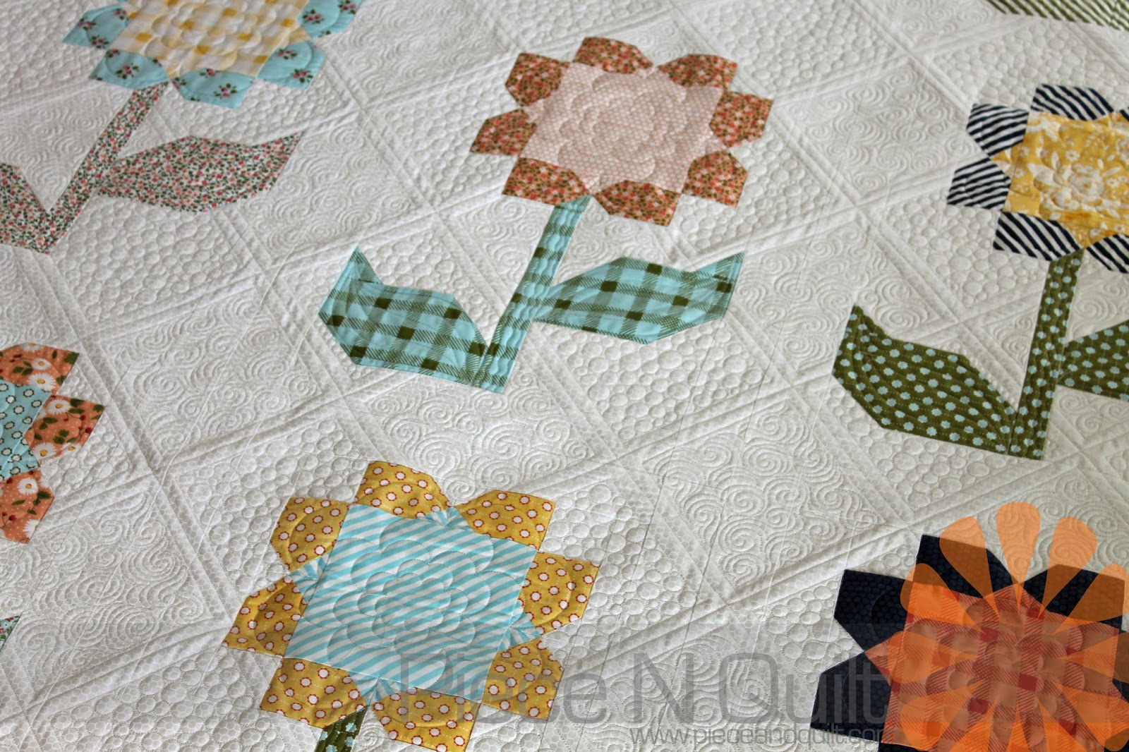 Piece N Quilt Cottage Blossoms Custom Machine Quilting By Natalia