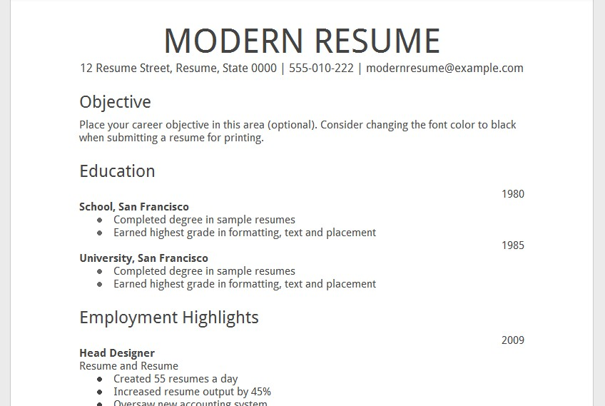 Template GOOGLE Docs – Modern Resume