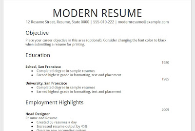 Template GOOGLE Docs - Modern Resume