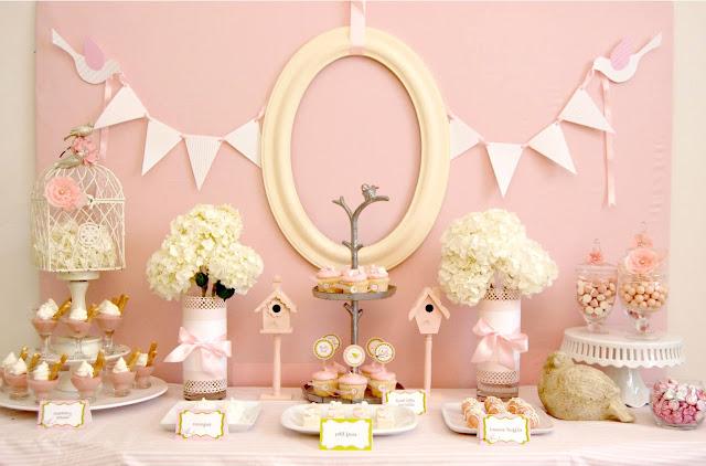 pink birdie baby shower rosa battesimo party semplicemente perfetto