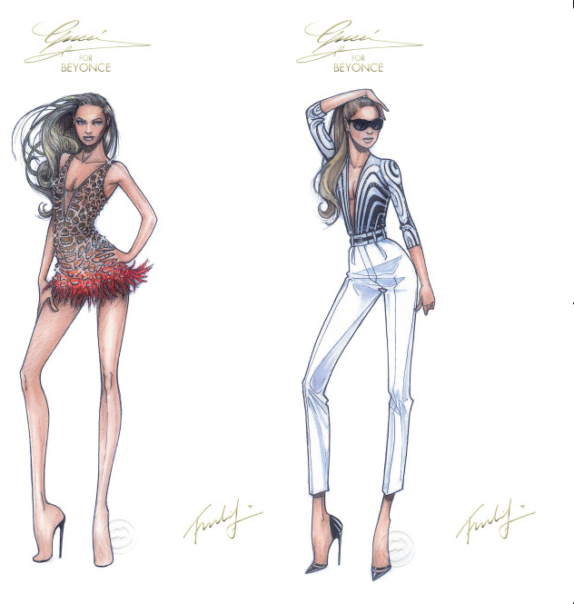 Gucci sketches for Beyonce's Mrs.Carter World Tour Outfits 2013