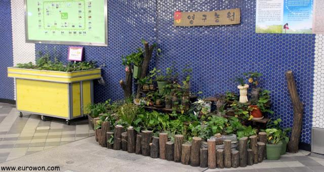 Pequeño jardín en la estación de Yeongdungpo del metro de Seúl