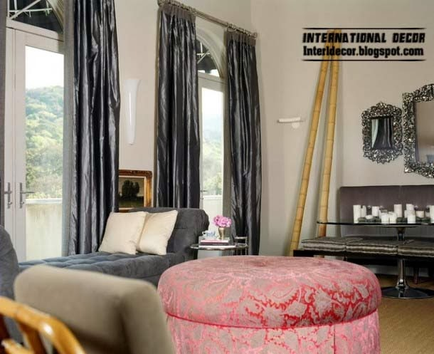 ottoman and banquette and black window treatments