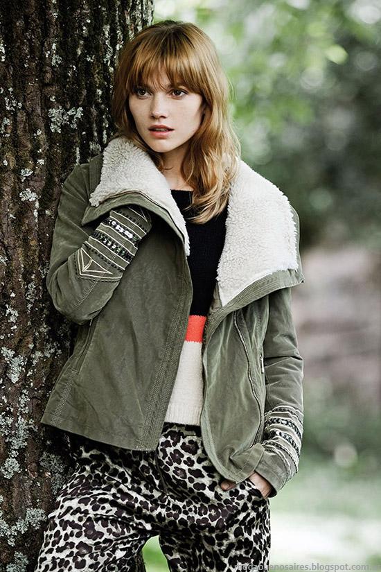 Camperas otoño invierno 2015 con corderito India Style moda otoño invierno 2015.