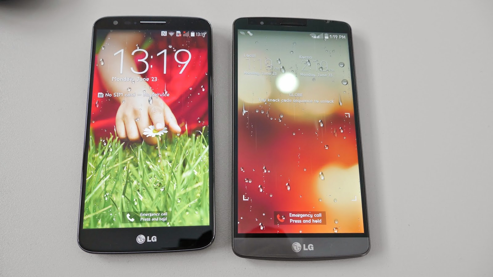 side by side: LG G3 vs G2