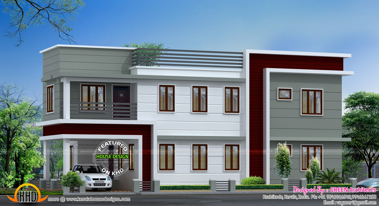 August 2015 kerala home design and floor plans for Flat roof home plans