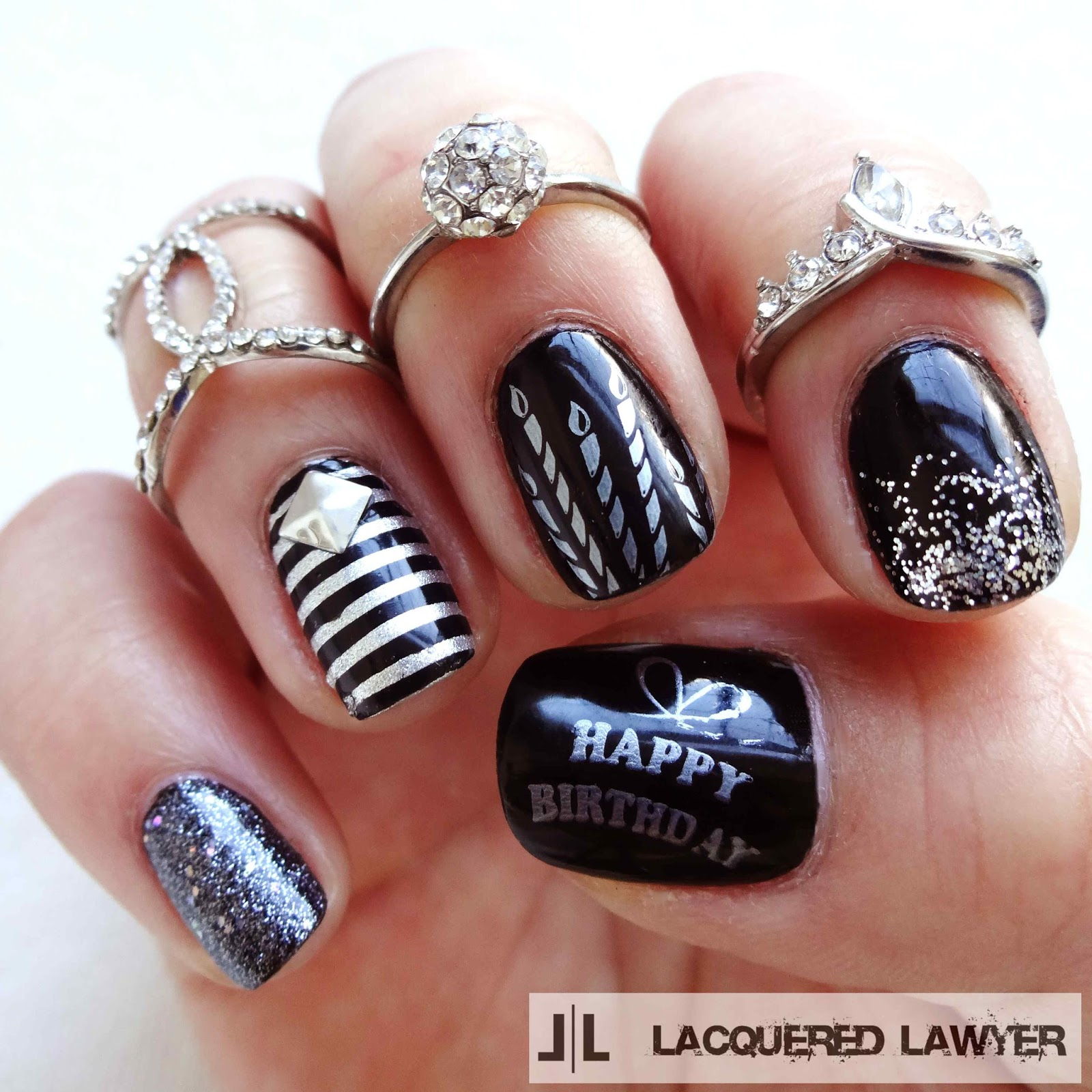 Black and Silver Birthday Nail Art