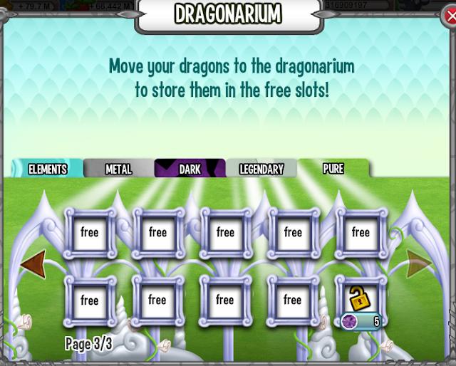 casillas y lugares vacios para colocar dragones en el dragonario