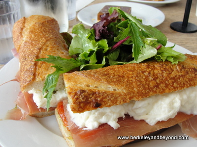 red pepper-burrata sandwich at Huckleberry Cafe in Santa Monica, California